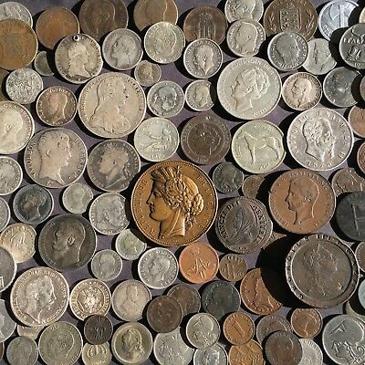 110 EUROPEAN COINS with one large medal and a smaller one too