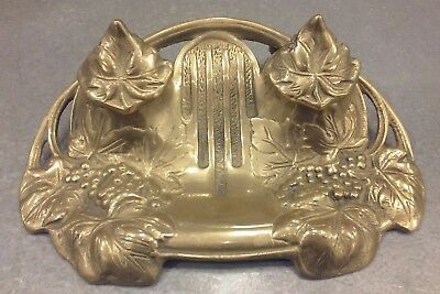 Vintage Art Nouveau Solid Brass Ink Well Ornate