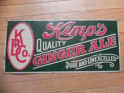 """vintage Kemp's Quilty Ginger ale metal sign 1920""""s embossed"""