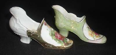 Lot Of 2 Miniature Victorian Porcelain Shoes~Marked Germany~Roses & Gold Gilt