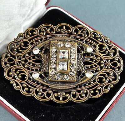 Vintage Brooch 1930s Art Deco Clear Square Cut Crystal Bridal Jewellery