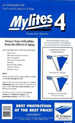 "Mylites 4 Standard Comic Book Mylar Sleeves 7 1/4"" x 10 1/2"" Plus 1 1/2"" Flap"