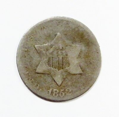 1852 THREE-CENT SILVER PIECE TRIME  3¢ Silver