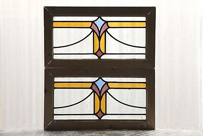 Pair of Antique Stained Glass Windows Three Colors Art Deco Swag Tulips (3073)
