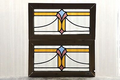Pair of Antique Stained Glass Windows Three Colors Art Deco Swag Blooms (3074)