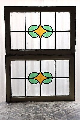 Pair of Antique Stained Glass Windows Art Deco Diamond Blooms (3075)