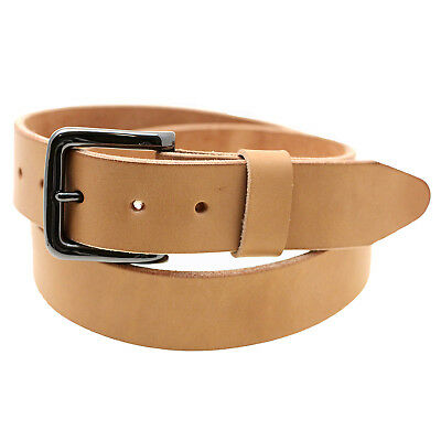 "Made In USA 1 1/2"" Tan Harness Leather Belt Natural Edge Return Size 36"