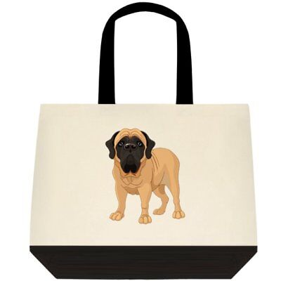 English Mastiff Dog Graphic Art Large Two-Tone Deluxe Cotton Canvas Tote Bag