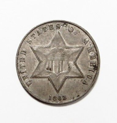 1862  THREE-CENT SILVER PIECE TRIME  3¢ Silver