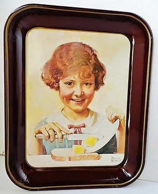 "Norman Rockwell ""The Butter Girl"" #1 Vintage 1975 Metal Tray / Décor – VGUC"