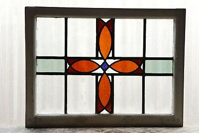 Antique Stained Glass Window Four (4) Color Craftsman Style (3079)
