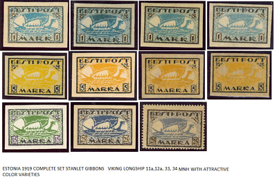 ESTONIA 1919 VIKINGSHIP ST GIBBONS 11a12a 33 34 MNH COLOR VARIANT FULL STAMP SET