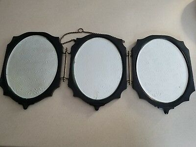 Antique Wooden 3 Tri-Fold Oval Beveled Glass Shaving Mirror
