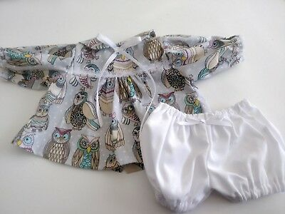 "Long Sleeved Owl Print Dress and White Panties for 16""  Cabbage Patch Doll"