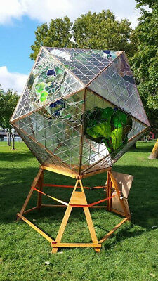 stained glass icosahedral model of world