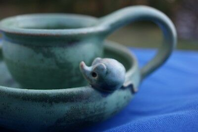 """Really """"Cute'  Finger Candle Holder with a Mouse looking on. Handerbeit Germany"""
