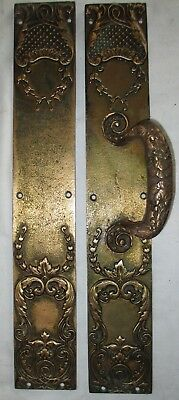 Large Pair Antique Victorian Ornate Bronze Door Pull & Push Plates