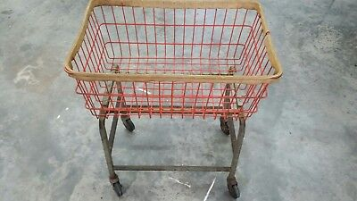 Vintage antique steel wire metal industrial cart laundry mail