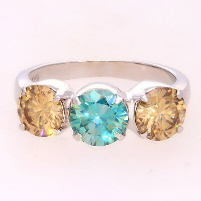Fiery 3.33 ct Blue Moissanite Engagement wedding Ring 925 Sterling Silver AU 01