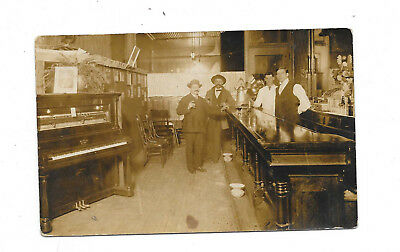 Antique RPPC, Saloon Photo w/Player Piano, Phonograph, Mustaches, Unposted