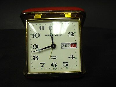 """Vintage Phinney Walker Day & Date Alarm Clock, Red Leather Case, Japan, 3 x 3"""""""