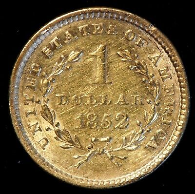 1852 US $1 Liberty Head Dollar Gold Coin (09856)