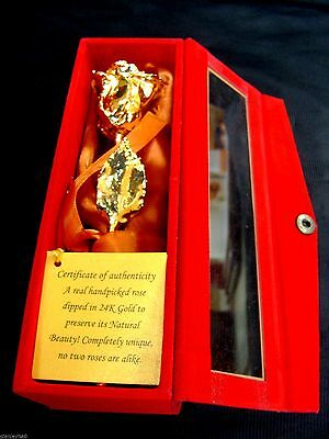 "CHRISTMAS GIFT 24K Gold Dipped 6"" Real Rose with Gold Satin & Red Velvet Box NEW"