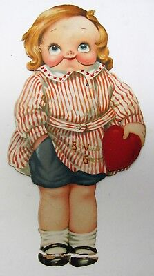 Germany Vintage German Large Google Eyes Girl Valentine's Day Card