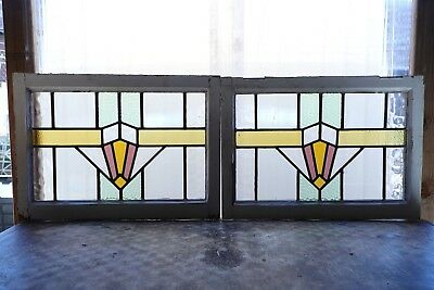 Pair of Antique Stained Glass Windows Four color Art Deco (3082)