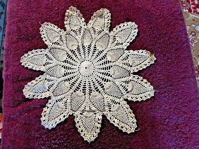 Vintage Large 18.5 -inch Hand-crocheted Pineapple Doily Free Shipping