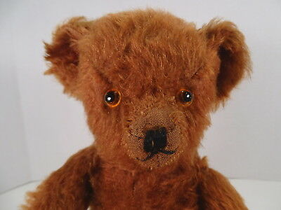 "1933 Knickerbocker Cinnamon Mohair Teddy Bear velveteen pads 16"" Tall"