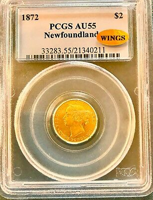 1872 Newfoundland $2.00 Gold Gold Coin Pcgs Certified Au 55  Wings