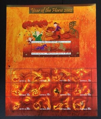 2002 Christmas Island Year of the Horse Sheetlet Fine CTO