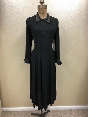 Vintage 1940s Black Day Dress with Gold and Silver Detailing Long Sleeve S/M