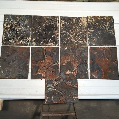 "9pc Lot of 12"" Antique Ceiling Tin Vintage Reclaimed Salvage Art"
