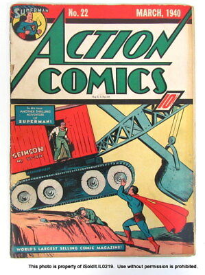 ACTION COMICS Detective Comic Book MARCH, 1940 NO. 22 Superman, Chuck Dawson