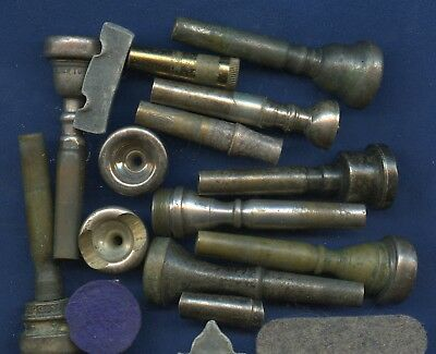 Vintage LOT  assorted Trumpet Mouthpieces & parts as is as found
