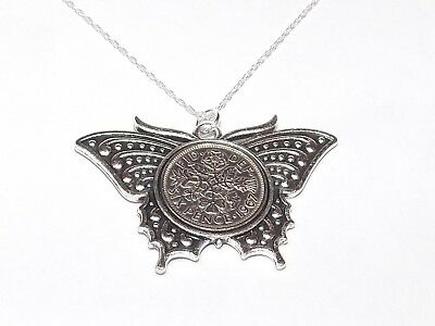 Anniversary sixpence coin pendant plus 20inch SS chain gift 1925 94th Birthday