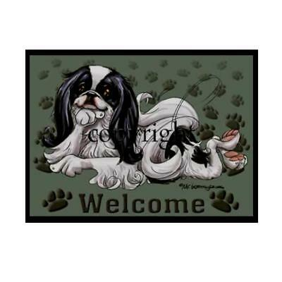 Japanese Chin Dog Breed Paws Cartoon Artist Welcome Doormat Floor Door Mat Rug