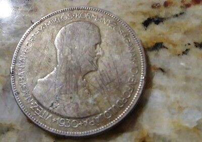 1930 HUNGARY 5 PENGO - Very Uncommon Silver Crown Coin