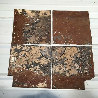 "4pc Lot of 12"" Antique Ceiling Tin Vintage Reclaimed Salvage Art"