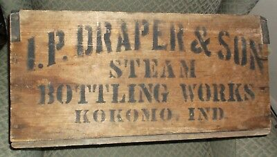 Antique Soda Crate - Kokomo Indiana - I.P. Draper & Son - Steam Bottling Works !