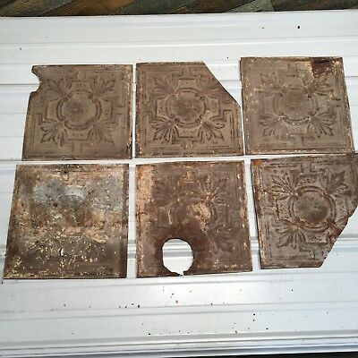 """6pc Lot of 12"""" and under Antique Ceiling Tin Vintage Reclaimed Salvage Art"""