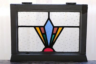 Antique Stained Glass Window Fantastic Five (5) Color Art Deco (3086)