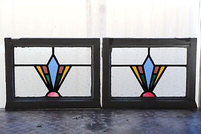 Pair of Antique Stained Glass Windows Fantastic Five color Art Deco Pair (3087)
