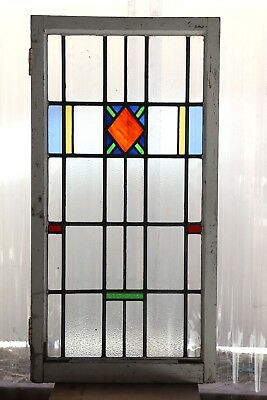 Large Tall Antique Stained Glass Window Six Color Craftsman Style Diamond (3088)