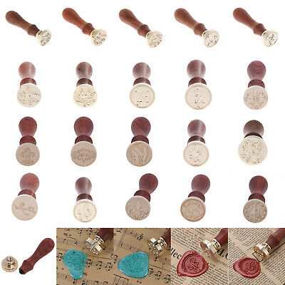 Retro Wooden Handle Sealing Wax Stamp Blessing Word Wedding Invitation Decor S1#