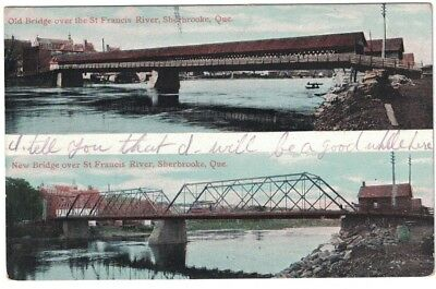 1905 Udb Old & New Bridge Over St. Francis River Sherbrooke Quebec Canada Pc