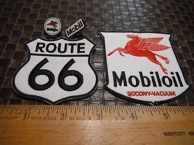 Mobilgas Pin & Mobil Pin & Mobilgas Patch & Route 66 Patch 4 ITEMS