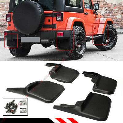 For 2007-18 Jeep Wrangler JK Mud Flaps Guards Splash Flares 4 Piece Front & Rear